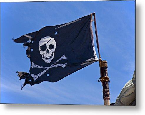 Pirate Flag Skull Cross Bones Metal Print featuring the photograph Pirate Flag Skull And Cross Bones by Garry Gay
