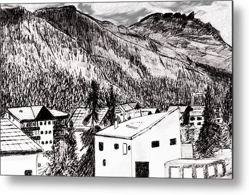 Switzerland Metal Print featuring the drawing Pontresina Black And White by Monica Engeler