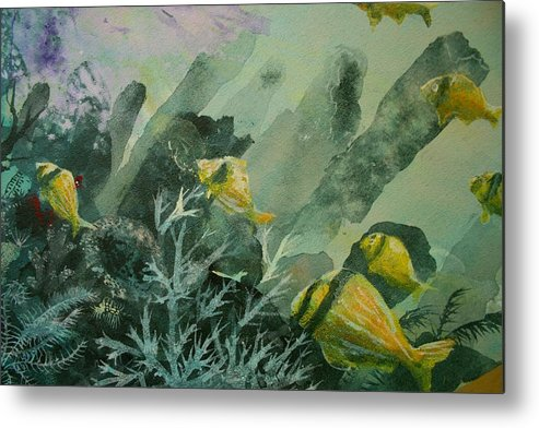 Fish Metal Print featuring the painting Pork Fish And Sea Sponge by Ana Bikic