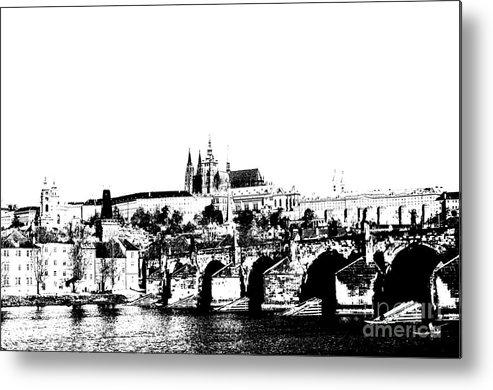 Prague Castle Metal Print featuring the digital art Prague Castle And Charles Bridge by Michal Boubin