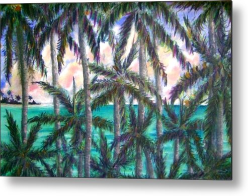 Queen Palm View Metal Print featuring the painting Queen Palm Bay View by Ana Bikic