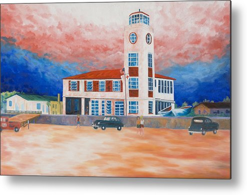 Historic Buildings Metal Print featuring the painting Red Cross Lifeguard Station by Blaine Filthaut