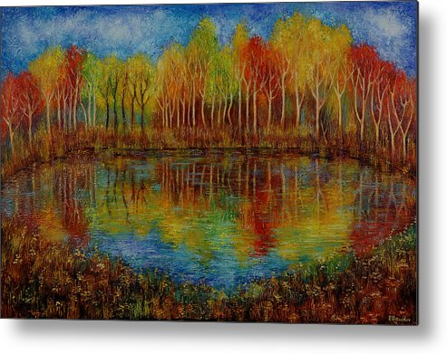 Landscape Metal Print featuring the painting Red Lake. by Evgenia Davidov