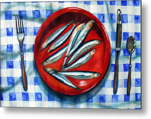 Still Life Metal Print featuring the painting Red Plate Special by Gail Zavala