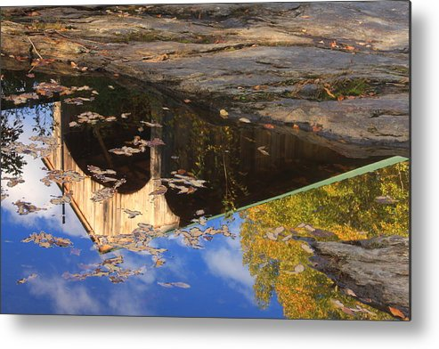 Covered Bridge Metal Print featuring the photograph Reflection Of Montgomery Covered Bridge by John Burk