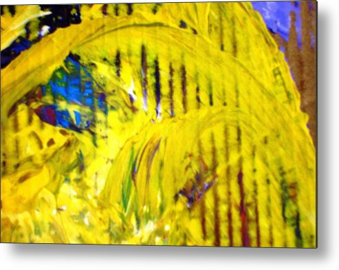 Yellow Metal Print featuring the painting Roller Coaster From Roller Coaster by Bruce Combs - REACH BEYOND