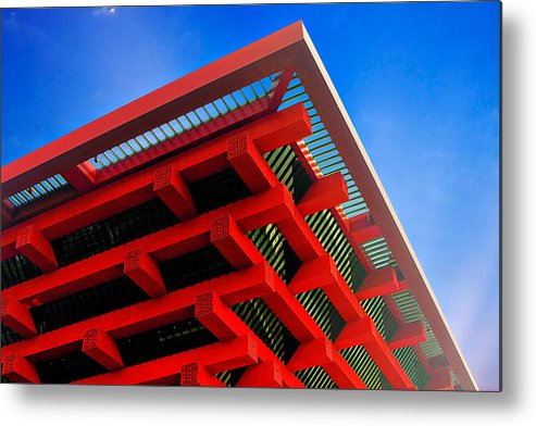 China Pavilion Metal Print featuring the photograph Roof Corner - Expo China Pavilion Shanghai by Christine Till