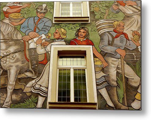 Rudesheim Metal Print featuring the photograph Rudesheim Mural by KG Thienemann