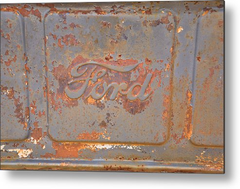 Vehicles Metal Print featuring the photograph Rusty Ford by Jan Amiss Photography