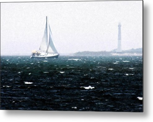 Photo Metal Print featuring the photograph Sailing Past Barnegat by Alan Hausenflock