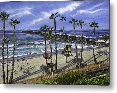 Pier Metal Print featuring the painting San Clemente Pier by Lisa Reinhardt