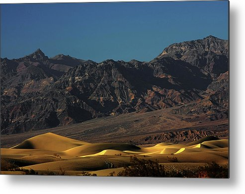 Eath Valley National Park Metal Print featuring the photograph Sand Dunes - Death Valley's Gold by Christine Till