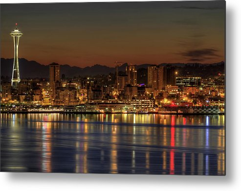 Horizontal Metal Print featuring the photograph Seattle Downtown Skyline From Alki Beach Dawn by David Gn Photography
