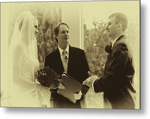 Vintage Metal Print featuring the photograph Sepia 2 Wedding Couple Example by David Patterson