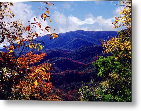 Mountain Metal Print featuring the photograph Smoky Mountain Autumn View by Nancy Mueller
