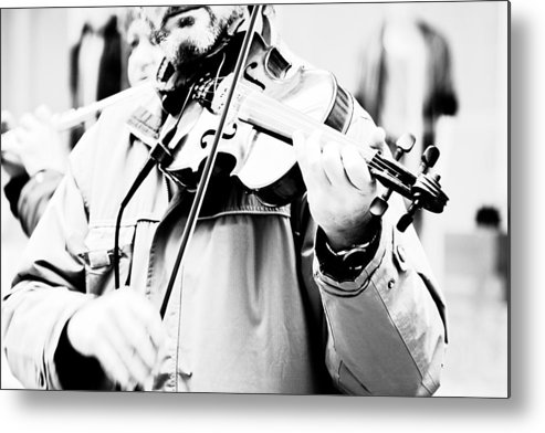 Playing; Man; Violin; Instrument; Musical; Music; Classical; Harmony; Melody; Antique; Symphony; Play; Instrumental; Performance; Musician; Art; Artistic; Violinist; Performing; Black; White; Person; Black And White; Bw; Photograph Metal Print featuring the photograph Sounds Of A Stranger by Gabriela Insuratelu