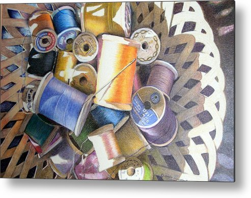 Still Life Metal Print featuring the painting Spools by Bonnie Haversat