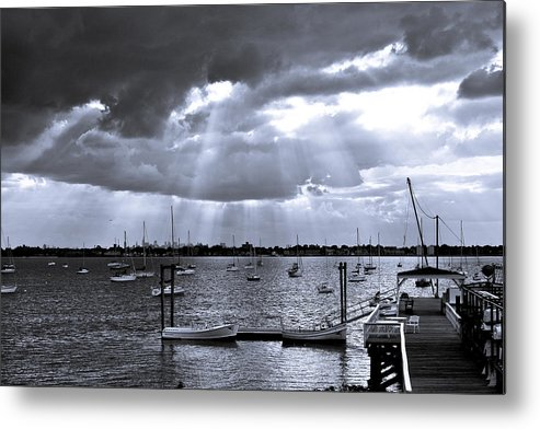 Water Seascape Nyc Skyline Boats Yachts long Island Sound city Island Metal Print featuring the photograph Storm Coming by Arthur Sa