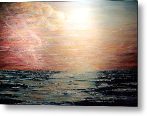 Ocean Metal Print featuring the painting Sunset Right In The Middle Of An Ocean by Jorge Stark
