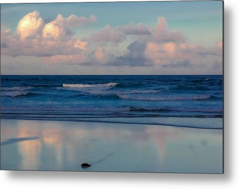 Ocean Metal Print featuring the digital art Sunset Tides by DigiArt Diaries by Vicky B Fuller