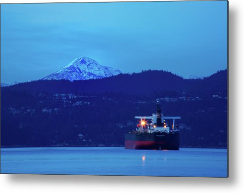 Tanker Metal Print featuring the photograph Tanker On English Bay by Paul Kloschinsky
