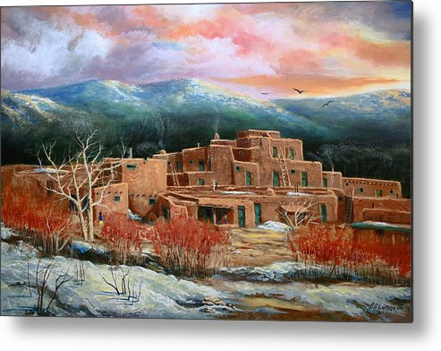Landscape Metal Print featuring the painting Taos Pueblo by Brooke lyman