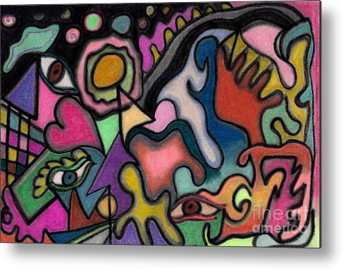 Abstract Art Metal Print featuring the pastel The Angry Eye by Christine Perry