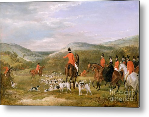 The Metal Print featuring the painting The Berkeley Hunt by Francis Calcraft Turner