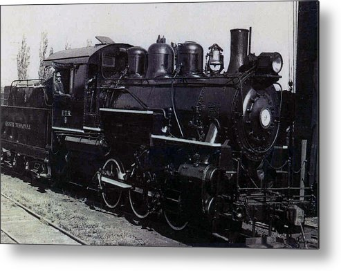 Old Photo Black And White Classic Saskatchewan Pioneers History Train Engine Metal Print featuring the photograph The Old Engine by Andrea Lawrence