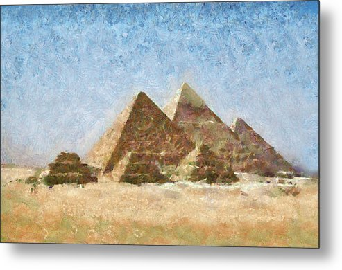 Pyramids Metal Print featuring the painting The Pyramids Of Giza by Peter Kupcik