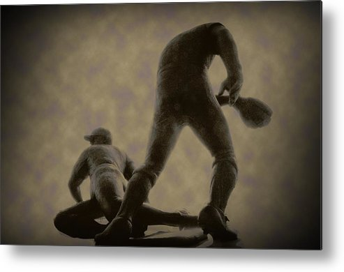 Baseball Metal Print featuring the photograph The Slide - Kick Up Some Dust by Bill Cannon