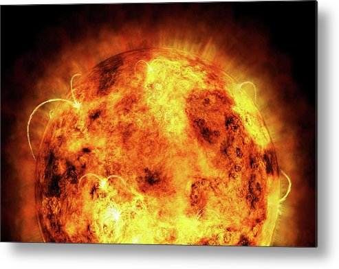 Sun Metal Print featuring the digital art The Sun by Michael Tompsett