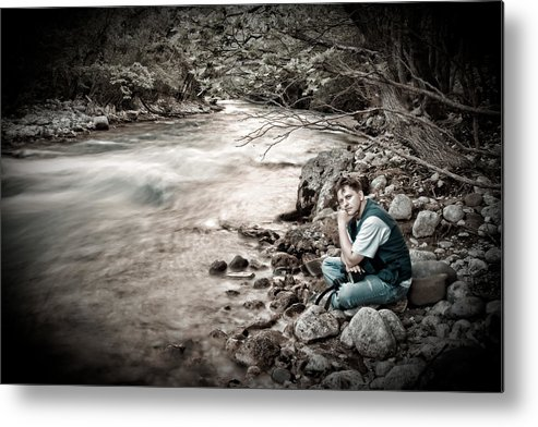 Man Metal Print featuring the photograph The Thinker by Gabriela Insuratelu