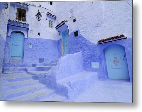 Morocco Metal Print featuring the photograph Three Blue Doors In Chefchaouen by Liz Pinchen