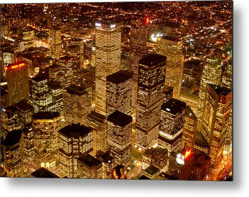 City Scape Metal Print featuring the photograph Toronto At Night by Linda McRae