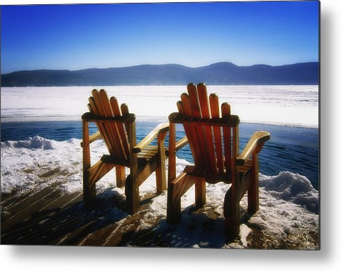 Landscape Metal Print featuring the photograph Two Adirondack Chairs by George Oze