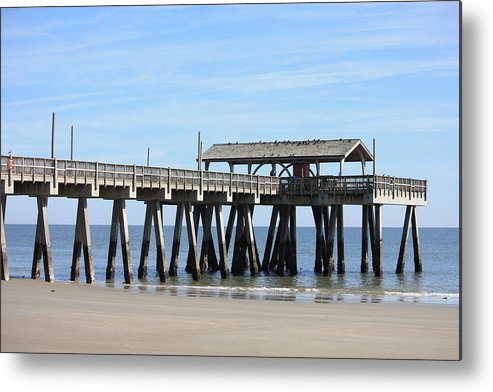 Tybee Island Pier Metal Print featuring the photograph Tybee Island Pier Closeup by Carol Groenen