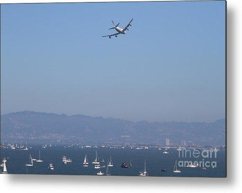 Transportation Metal Print featuring the photograph United Airlines Boeing 747 Over The San Francisco Bay At Fleet Week . 7d7860 by Wingsdomain Art and Photography