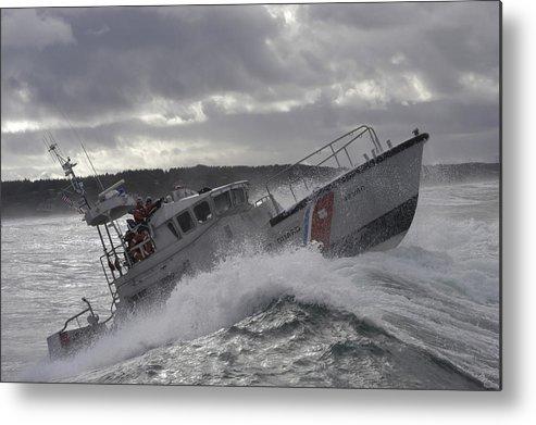 Horizontal Metal Print featuring the photograph U.s. Coast Guard Motor Life Boat Brakes by Stocktrek Images