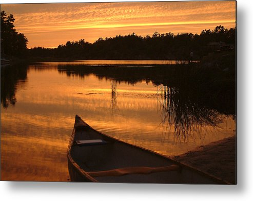 Canoe Metal Print featuring the photograph Waiting For Me by Linda McRae