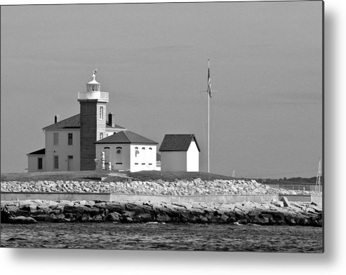 Lighthouse B&w Sailboat Boat Beach Sea Building Mooring Marina Water Seacoast Metal Print featuring the photograph Watch Hill Light 3 by Arthur Sa