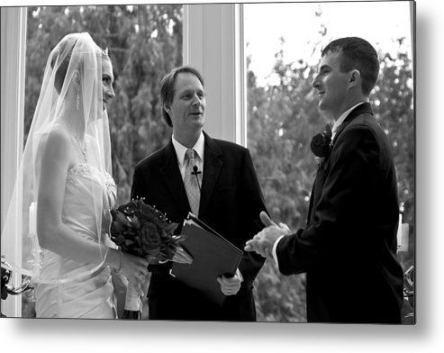Vintage Metal Print featuring the photograph Wedding Couple Example by David Patterson