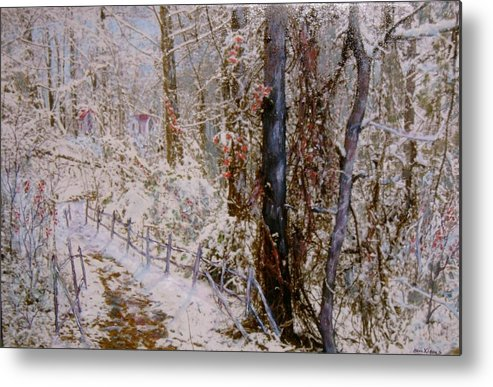 Snow; Trees Metal Print featuring the painting Winter Wonderland by Ben Kiger