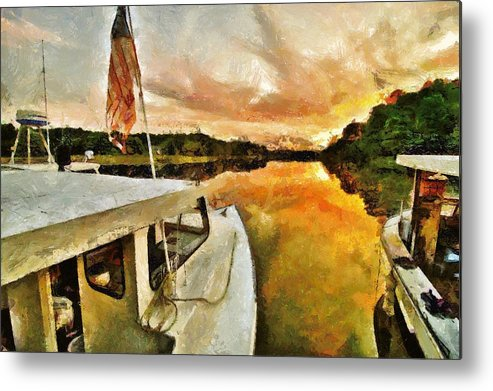 Boats Metal Print featuring the photograph Workboats On San Damingo Creek by Jim Proctor
