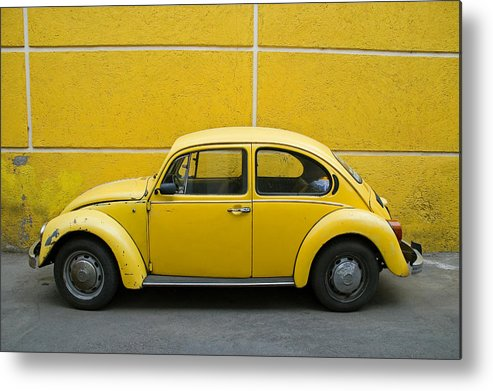 Yellow Metal Print featuring the photograph Yellow Bug by Skip Hunt