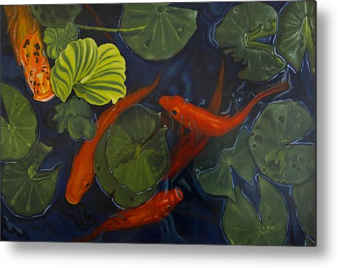 Painting Metal Print featuring the painting Koi Ballet by Peter Muzyka