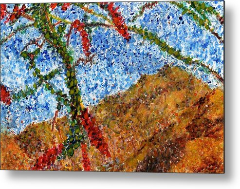Watercolor Metal Print featuring the painting Ocotillo In Bloom by Cynthia Ann Swan