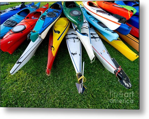 A Lot Metal Print featuring the photograph A Stack Of Kayaks by Amy Cicconi