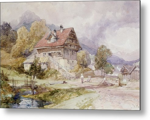 Alps Metal Print featuring the drawing Chalet, Brunnen, Lake Lucerne by James Duffield Harding