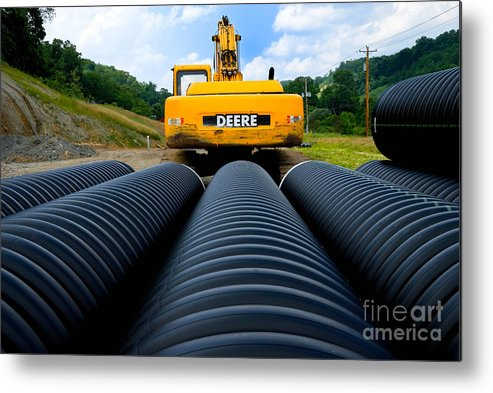 Backhoe Metal Print featuring the photograph Construction Excavator by Amy Cicconi